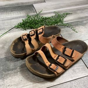 {Birkenstock} three strap sandals